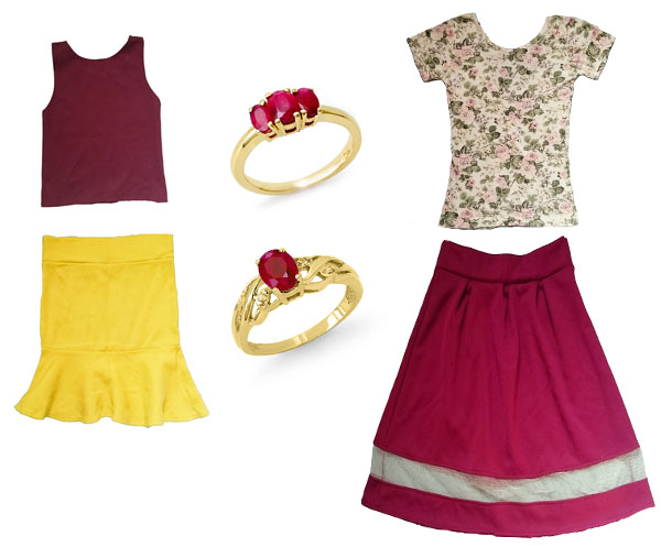 crop top + flouncy skirt; floral low back tee + mesh skirt